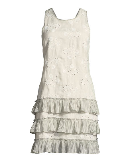 Garden-Eyelet Sleeveless Linen Dress