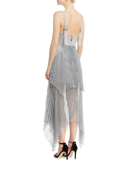 Sleeveless Monochrome Stripe Handkerchief Maxi Cocktail Dress