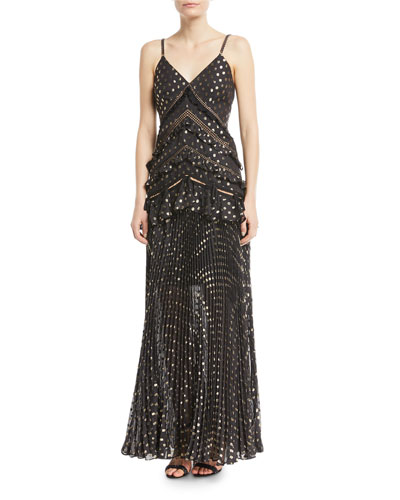 Metallic Chain-Strap Polka-Dot Pleated Maxi Dress