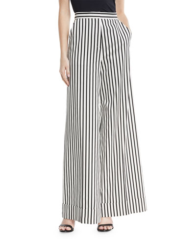 Monochrome Wide-Leg Cotton Trousers