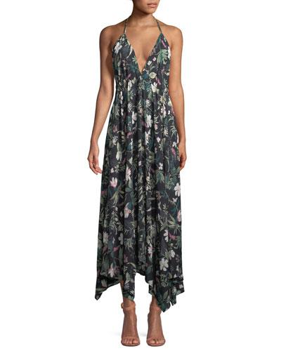 deep-v floral-print maxi coverup dress