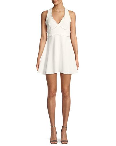 Knolls V-Neck Sleeveless Fit-and-Flare Dress w/ Ruffled Trim