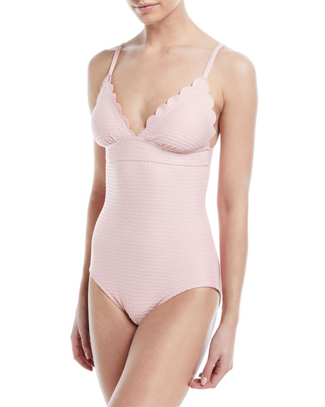 Image 1 of 1: scalloped v-neck one-piece swimsuit