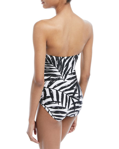Leaf-Print Bandeau Cutout One-Piece Swimsuit