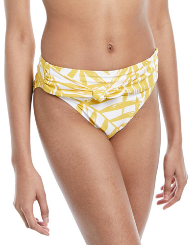 Tie-Front Palm-Leaf Print Swim Bikini Bottoms