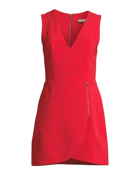 Lennon Surplice Sleeveless Side-Zip Mini Cocktail Dress