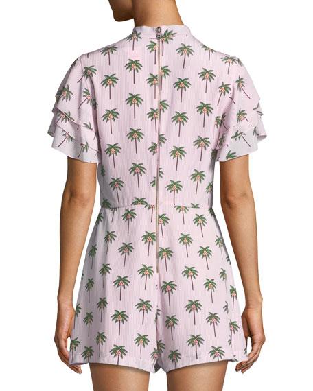 Macall Ruffle Short-Sleeve Palm-Tree Print Romper