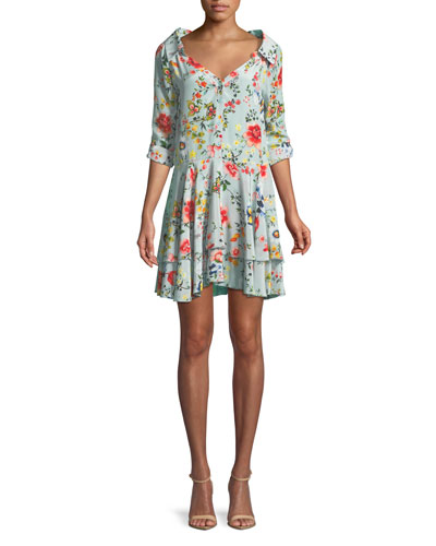 Moore Button-Down Layered Floral-Print Silk Tunic Dress