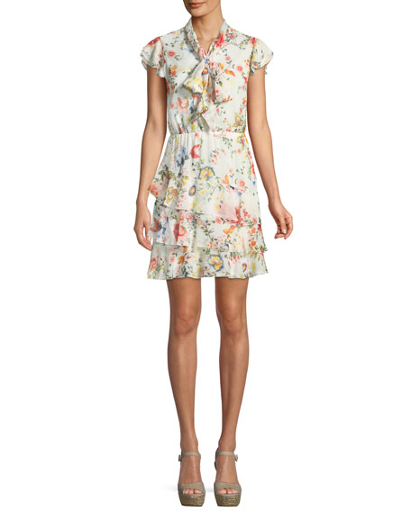 Leslie Tie-Neck Floral-Print Silk Ruffle Dress