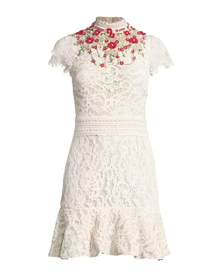 Myrtis Embellished Mock-Neck Lace Cocktail Dress