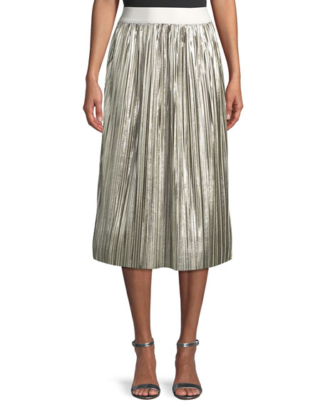 f525e79a07 Alice + Olivia Mikaela Shiny Pleated A-Line Midi Skirt