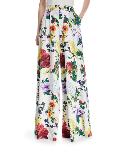 Dustin Super Flared Floral-Print Cotton Pants