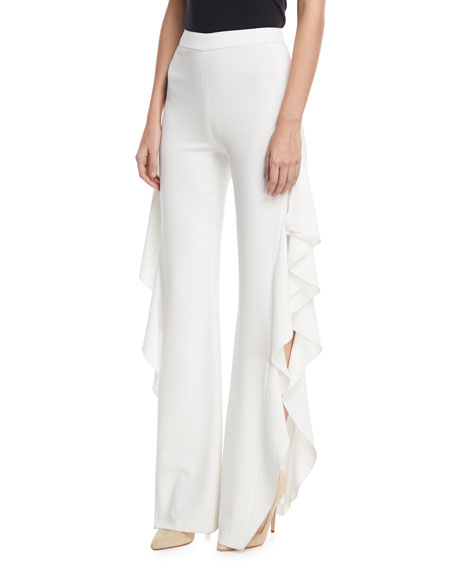Image 1 of 1: Estell Ruffle Slit Flared-Leg Pants