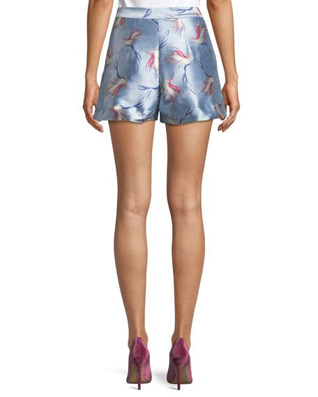 Heath High-Waist Bird-Print Satin Shorts