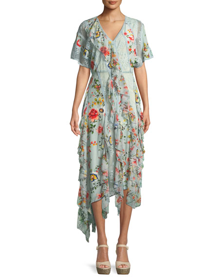 Alice + Olivia Kadence Short-Sleeve Floral-Print Lace Godet