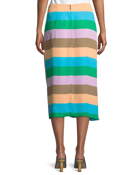 Striped Shirred Midi-Length Skirt