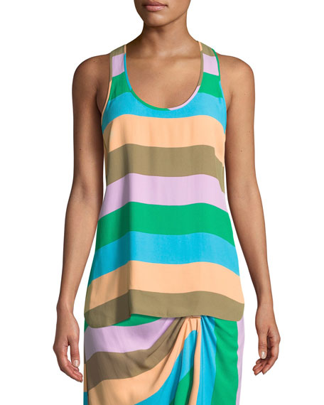 Striped Scoop-Neck Racerback Tank