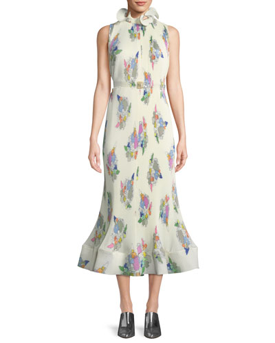 Camellia Sleeveless Pleated Floral-Print Dress
