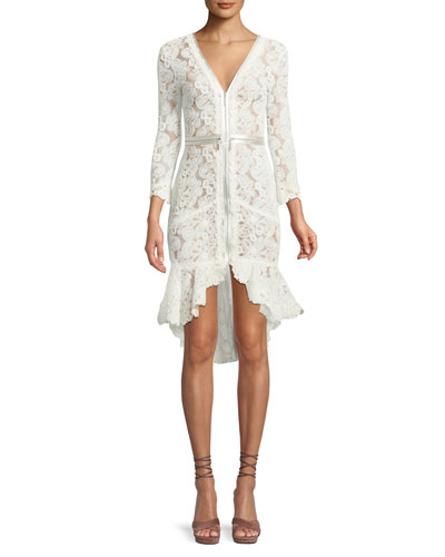 Parissa Lace Zip-Front High-Low Dress