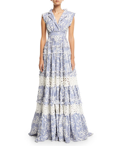 Karoline Sleeveless Striped Gown w/ Lace Embroidery