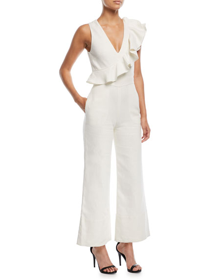 Sachi Sleeveless Flared-Leg Linen Jumpsuit, Ecru