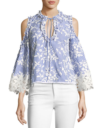 Clair Cold-Shoulder Striped Embroidered Top