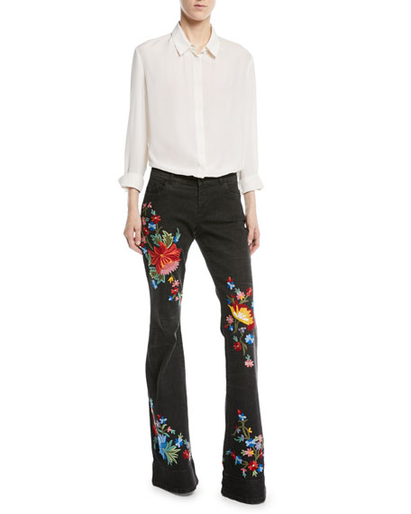 Ryley Low-Rise Floral-Embroidered Bell Jeans