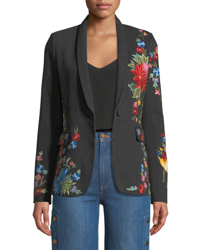 Macey One-Button Floral-Embroidered Denim Jacket