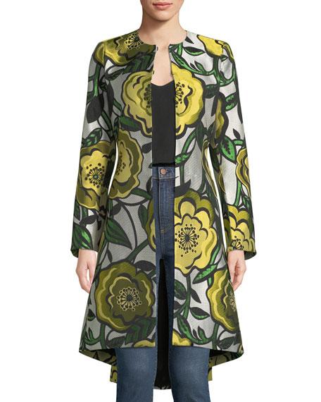 Liza Bell-Sleeve Hook-Front Floral-Jacquard Coat