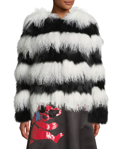 Verity Fur Coat, Black/White