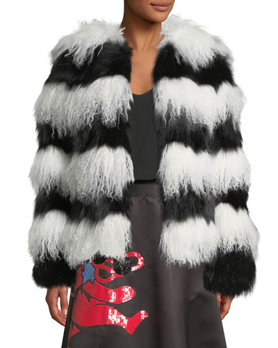 Verity Fur Coat, Black/White