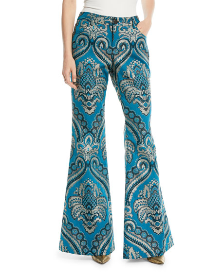 Alice + Olivia Ryley High-Rise Damask-Jacquard Bell Pants