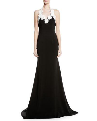 Daisy-Trim Crepe Halter Gown