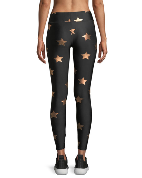 Star Foil Printed Tall Band Performance Leggings