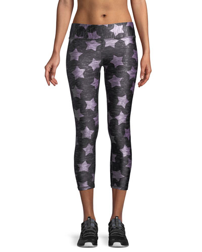 Heathered Stars-Print Capri Leggings