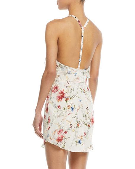 Narrow Escape V-Neck Sleeveless Floral-Print Silk Dress