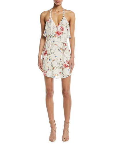 Narrow Escape V-Neck Sleeveless Floral-Print Silk Dress