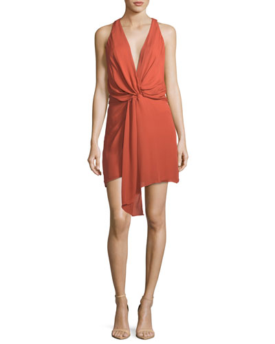 Trails End Plunging Twist-Front Silk Dress