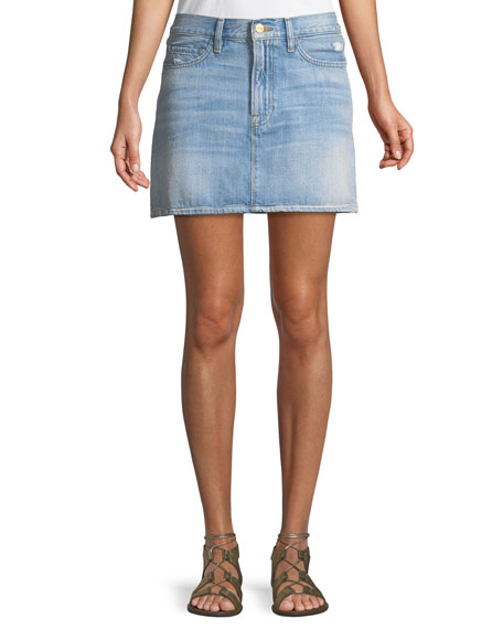 Le Mini Stud-Embellished Denim Skirt, Blue