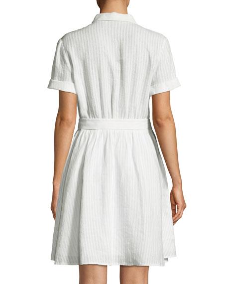 Short-Sleeve Button-Down Striped Linen Dress