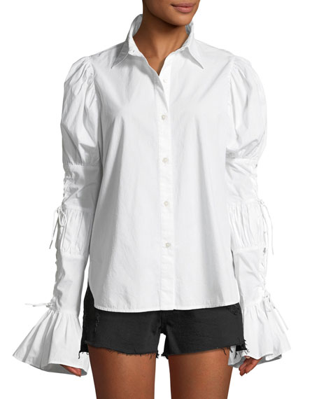 Button-Down Lace-Up Sleeve Cotton Shirt, White