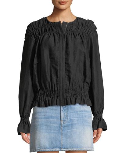 Smocked Zip-Front Linen Jacket