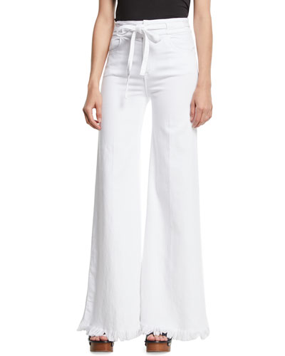 Le Palazzo Belted Wide-Leg Pants w/ Raw-Edge