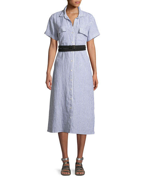 Button-Down Short-Sleeve Striped Linen Shirtdress