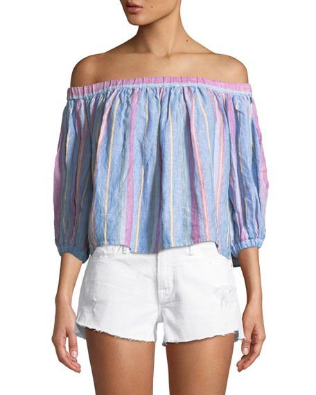 Off-the-Shoulder Striped Linen Top