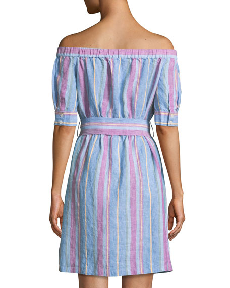 Off-the-Shoulder Striped Linen Dress