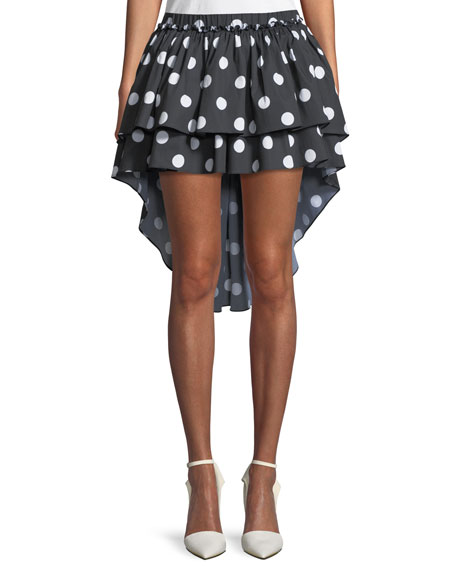 Caroline Constas Gulia Tiered Ruffled High-Low Mini Skirt