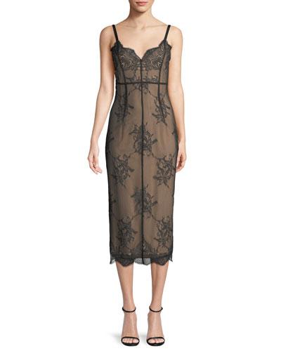 Gigi V-Neck Sleeveless Lace Dress