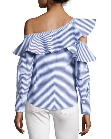 Striped Frill Asymmetric Shirt