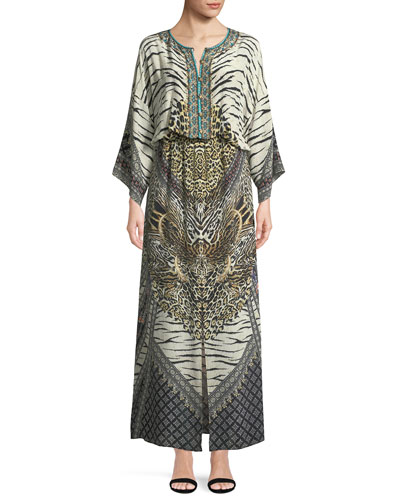 Embellished Silk Split-Front Maxi Dress
